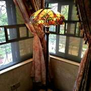 Style Floor Lamp Stained Glass Vintage Victorian Design 2 Lights Amber
