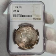 1924 Peace Ngc Ms67 Dollar Silver 1 Pop 100 Only 11 Higher Rose Toned Free Ship