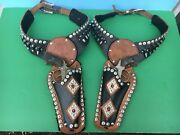 Wild Bill Hickok Double Gunslinger Leather Holsters With L-h Cap Guns - Wow