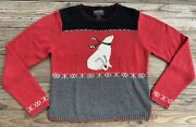 Woolrich Red Polar Bear Holiday Knit Sweater Women's Size Small Christmas