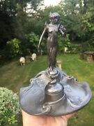Wmf Pewter Very Rare Inkwell Antique German Art Nouveau Pen Tray Lady Figure