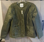 Madewell Quilted Liner Jacket Size M Nwt Olive Green