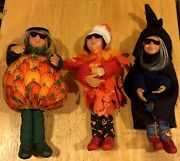 Byers Choice Kindle Leaves Pumpkin Patch And Witch Halloween Figures Set Of 3