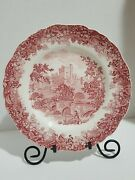 7 Pcs. Vintage J And G Meakin England Haddon Hall 9.8 Red Dinner Plates