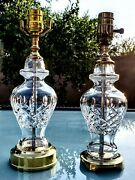 Pair Of 2 Waterford Lismore Fine Cut Crystal Table Lamps - Concierge Set - Mint
