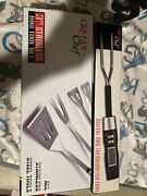 Digital Bbq Meat Thermometer Fork - Electronic And 3 Pc Bbq Tool Set New