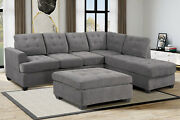 Sectional Sofa L Shaped Couch 5-seat Reversible Chaise Armchairs Couches Gray