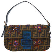Fendi Zucca Beaded Baguette Hand Bag Brown 2373 26424 009 Canvas Leather 10026