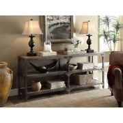 Industrial Style 3-tier Weathered Oak And Antique Silver Metal Frame Console Table
