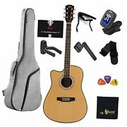 Left Handed Guitar Full Size Acoustic Spruce Cutaway For Beginners Students