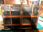 Beautiful Vintage Martin Mauier Antique Steamer Trunk W/ Storage Compartments