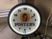 Image Time Vintage Neon Wall Clock Fosters Beer Add Clock 19 Inch White Classic