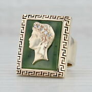 Green Nephrite Jade Diamond Signet Ring 14k Yellow Gold Size 7 Figural Male Bust
