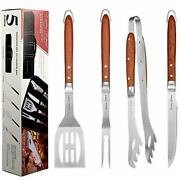 Deluxe Bbq Grill Tool Set With Rosewood Handles - Best Grilling Gift- Heavy Duty