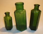 Three Old Hexagonal Green Bottles- Great For Little Vases And Crafts.