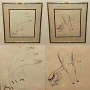 Pair Of 2 Original Signed Caroline Durieux Grapite And Charcoal Sketches