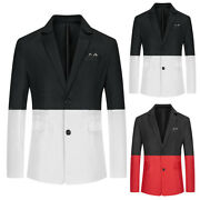 Men's Color Block Stitching Single-breasted Business Wedding Suit Jackets Tops