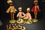 4 Vintage Mid Century Pixie Elf Playing Violin And Harp Figures Signed For Repair