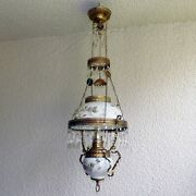 Antique Oil Hanging Parlor Lamp Ceiling Chandelier Converted