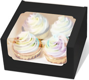 50 Packs Cupcake Carrier For 4 Holders 6.5 X 6.5 X 3.5 Black Auto-popup Baker