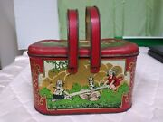 Vintage 1920and039s 1930and039s Tin Lunch Box Two Handles 2 Girls On A Teeter Totter W/dog
