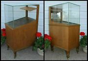 Vintage Sheaffers Glass Fountain Pen And Pencil Oak Store Display Case Cabinet Old