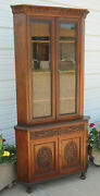 Antique Walnut Corner China Cabinet Bevel Glass Lambs Tongue And Acanthus Carvings