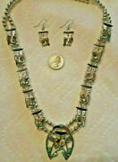 Zuni Indian Pitkin Natewa Owl Bird Squash Blossom Necklace Earrings Sterling 26