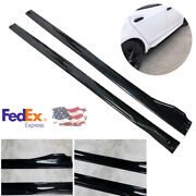 4 Pieces 2.4m Glossy Black Cuttable Car Modification Side Skirts Wing Extensions