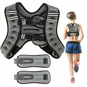 Pacearth Weighted Vest With Ankle/wrist Weights 6/12/16lbs Adjustable Body We...