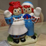 Raggedy Ann And Andy Cookie Jar New With Le Creuset Mini Dish