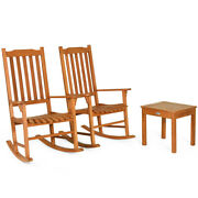 3 Pcs Simple Eucalyptus Rocking Chair Set Coffee Table And2 Conversation Chairs