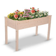Garden Wooden Planter Vegetable Flower Raised Bed Herb Grow Box Container High