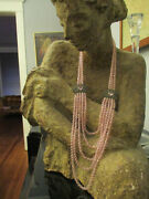 Fabulous Signed Heidi Daus Pink Faceted Crystal 5 Strand Rhinestone Necklace