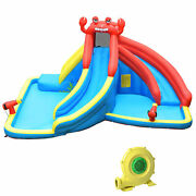 Inflatable Water Park Bounce House Crab W/ 2 Slides Climbing Wall Tunnel