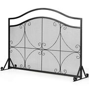 Single Panel Fireplace Screen Free Standing Spark Guard Fence For Baby Pet Safe