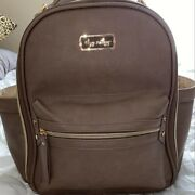 Itzy Ritzy Mini Baby Diaper Bag Backpack Changing Pad Taupe Used