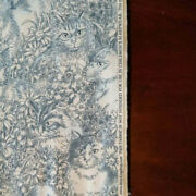 Daisy Kingdom Cat Flannel Toile Cotton Fabric Blue / White 3.2 Yds Vtg Oop Htf