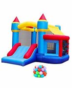 Inflatable Bounce House, Bounce Castle With Jumping Ball Pit And Basketball Blue