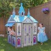 Kids Play Castle Wooden Cottage Pretend Playhouse Toddler Indoor Toy Playhouse