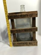 Vintage 5 Gallon Glass Water Bottle Jar With Wood Crate Chicago Il So White