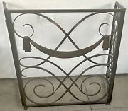 French Art Deco Wrought Iron Fireplace Screen 3 Panel Folding Louis Sognot