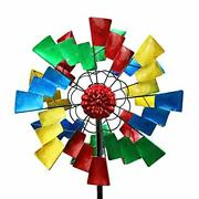 Kinetic Sunflower Wind Spinners With Stake Metal Garden Spinner With Colorful