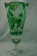 Bohemian Green Cut To Clear Large Footed Vase 15 7/8 Signed