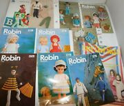 Lot Of Vintage Doll Clothes Knitting And Crochet Pattern Books Robin, Emu, Patons