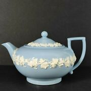 Rare Vintage Wedgwood Queenand039s Ware Individual Teapot Cream On Blue Lavender