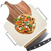 Pizza Stone For Oven And Grill With Wooden Pizza Peel Paddle And Pizza Cutter