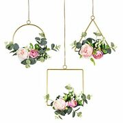 Artificial Flower Hoop Wreath Set Of 3 Hanging Floral Wall Decor With Rose