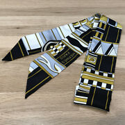 Hermes Twiry Vault Pirouettes Tuily Noir Black Blanc Volt Scarf Women And039s 06810
