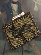 Antique French Flapper Miniature Micro Glass Seed Bead Coin Purse Dog Dolls